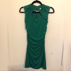 cocktail Dress - green and gold necklace accessory